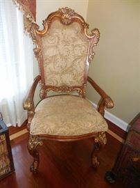 Plunkett Hand Carved Mahogany Ball Claw Foot Gold Painted Leaf Arm  Entry Way Chair,Silk Brocade Fabric