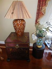 Walter E Smith  Trunk Occasional Table. Vintage Ceramic Table Lamp Silk Shade.