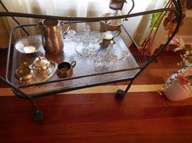 Cast Metal Frame, Tempered Glass Serve/Tea Cart