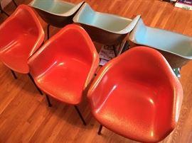 Red orange Eames Herman Miller Chairs