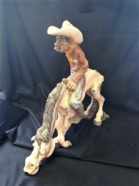 Cowboy on Horse Sculpture