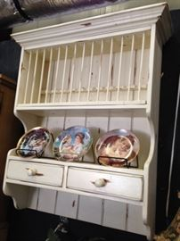 Distressed Farmhouse Plate Rack Cabinet
