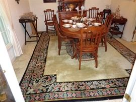 9 x 12 oriental rug and Walnut dining table