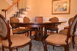 "Dining Table 58""x78""x30""ht,  Protective pads, 8 side chairs     (measurements includes removable 20"" leaf)"
