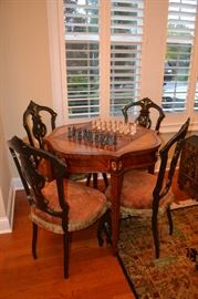 Game Table - Leather Top/Burl woods - Chess/Backgammon  and 4 Restored Victorian Chairs