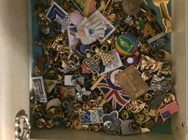 huge collections of pins, including olympic pins