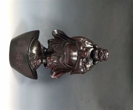 LOT 990 WOOD CARVED BUDDHA