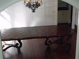 Marge Carson dining table, seats 12.  Two additional leaves.