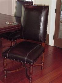 Leather chairs with wood frame (three of these)