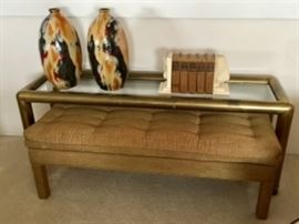 Brass and glade console table, 1970's upholstered bench, groovy accessories