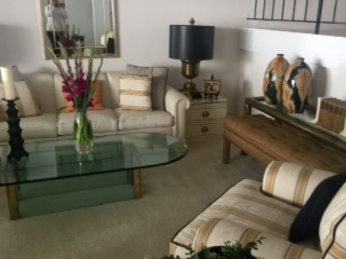 View Of Living Room Pace Glass Coffee Table Ethan Allen Sofa Brass Console 1970s Bench
