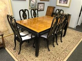 Stanley Black Lacquer Light Wood Top Oriental Style Dining Table w/ Two Leaves, Two Black Lacquer Upholstered Seat Oriental Style Dining Arm Chairs and Four Black Lacquer Upholstered Seat Oriental Style Dining Side Chairs