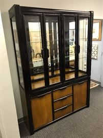 Stanley Black Lacquer Light Wood Front Lighted China Cabinet w/ Mirrored Back & Glass Shelves