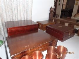 several sets of flatware