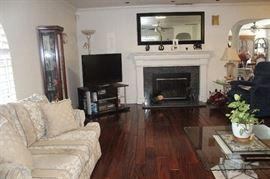 White Sofa Couch Curio Cabinet