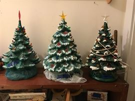 Ceramic Christmas trees.  Others than shown also