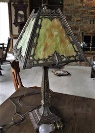Art nouveau 4 panel slag glass table lamp