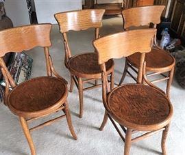 4 antique oak chairs