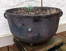 Large antique cast iron cauldron - outdoor planter pot