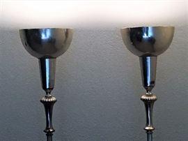 Aluminum Art Deco torchiere lamps