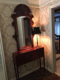 Large antique mirror, asian hall table