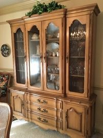 French Provincial fruitwood china cabinet