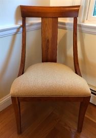 Henredon Dining Chairs - Contemporary in style, newly reupholstered in neutral fabric