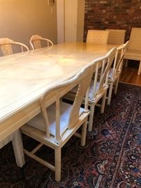 Vintage Henredon faux goat skin, ivory laquered dining table
