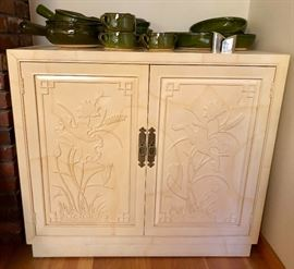 HENREDON Karl Springer style Server Cabinets. Cabinet with faux Goat Skin Finish. Ivory Cream Color. Oriental design relief panel doors.  Dimensions: H: 32.25 inches: W: 36 inches: D: 18 inches