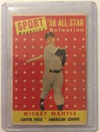 Original 1958 Topps Mickey Mantle All-Star #487 in Very Good - Excellent Condition Book Value   $200.00