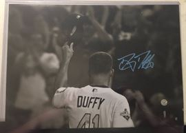 Signed 11x14 inch Signed Danny Duffy Photograph Kansas City Royals Blue Ink Signature