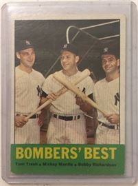 Original 1963 Topps Bomber's Best with Mickey Mantle, Tresh, and Richardson in Very Good-Excellent   Condition Book Value of $150.00