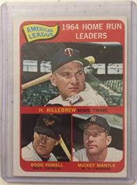 Original 1965 Topps League Leaders Card with Mickey Mantle, Harmon Killebrew, and Boog Powell   American League Home Run Leaders