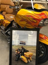 Jim Vance custom  motorcycle worked at NBC4 news  its 20002 Harley Davidson Road glide custom paint aire 5150 with more than 20000  on extra parts.