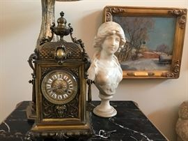signed marble bust & bronze clock with key & enamel numbers