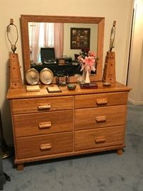 Vintage 1950's Ranch Oak by A Brandt Furniture of Fort Worth, TX,  dresser with matching mirror and matching pair of Peg lamps.  Great for that Retro Cowboy Western look