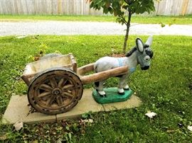 Fabulous painted concrete donkey and cart
