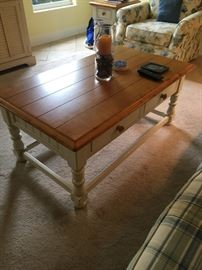 distressed coffee and end tables set, oak top