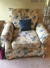 floral blue, yellow & green club chair