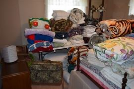 Lots of Bedding, Linens, Suitcases