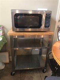 #6Sharp Microwave R52oks $35.00  #7Metal Microwave Cart w/Butcher Block Top  30x20x36 $75.00