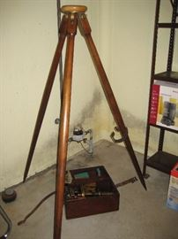 Vintage surveyor's tripod & tools