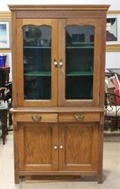 "Kitchen Cupboard with Glass-Front Doors, Porcelain Pulls and Dovetail Constructed Drawers, 37""W x 73""H x 20.5""D"
