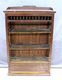 "Antique 1800's Shelving Unit / Bookcase with Bottom Drawer, Pierced Floral Carved Sides, Appears Old, 38""W x 57""H x 12""D"