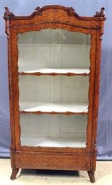 "Birdseye Maple Glass-Front Display Case, Ornate Details, Splayed Feet, 36""W x 74""H x 17.5""D"
