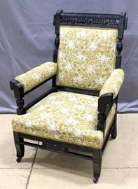"Ornate Armchair on Casters with Pierced Craved Frame, 26""W 39""H x 24""D"