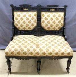 "Antique Ornate Bench / Settee on Casters, Heavily Pierced Design, Pressed Flowers behind Glass on Backrest, 38""W x 37""H x 18""D"