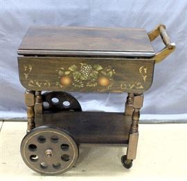 "Tea Cart with Painted Design Drop Leaves, 28""L x 15.5""W x 28""H, 27""W with Leaves Extended"