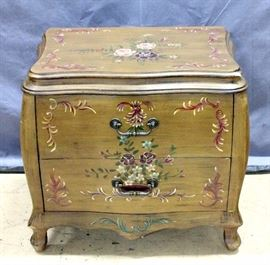"Serpentine Nightstand / Side Table with Floral Design, 25""W x 23""H x 17""D"