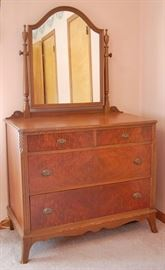 Antique Burl Mahogany Dresser with Mirror